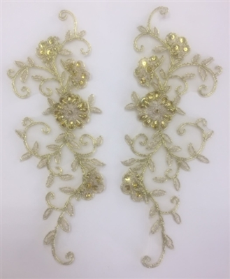 APL-BED-101-GOLD-PAIR.  Beaded Applique - Gold - 10 x 3.5 Inch