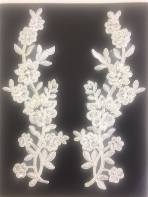 APL-BED-104-IVORY-PAIR.  Beaded Applique - Ivory - 9 x 3 Inch