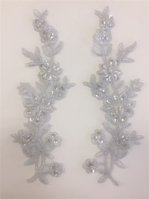 APL-BED-104-SILVER-PAIR.  Beaded Applique - Silver - 9 x 3 Inch