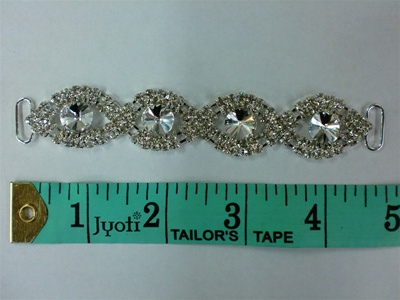 BKL-RHS-015.  CRYSTAL RHINESTONE APPLIQUE - 5 X 1 INCHES