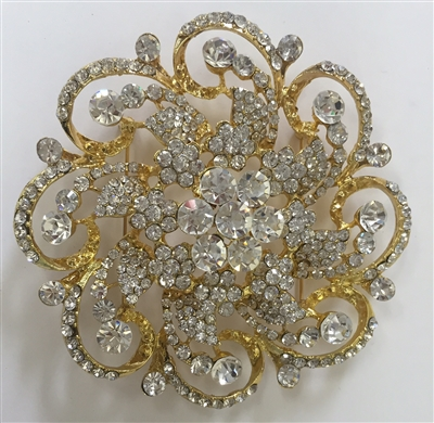 BRO-RHS-263-GOLD.  Crystal Rhinestone Brooch - 3.5 Inches