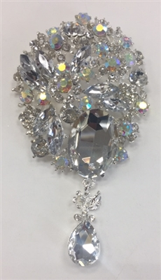 BRO-RHS-265-ABSILVER. Clear and AB Rhinestones on Silver Metal Broach - 2.5 x 4.5 Inches