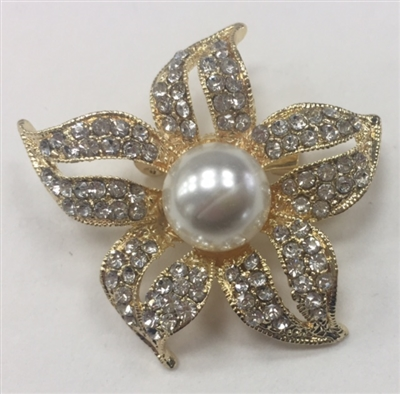 BRO-RHS-270-GOLD. Clear Rhinestones and Pearls on Gold Metal Brooch - 1.5 x 1.5 Inches