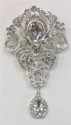 BRO-RHS-271-SILVER. Clear Rhinestones on Silver Metal Brooch - 4 x 2 Inches