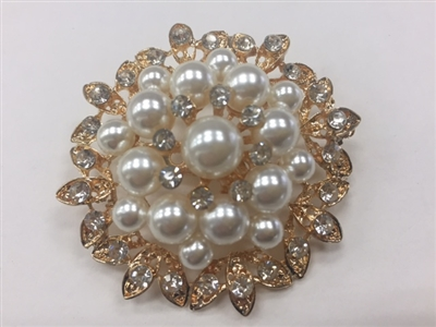 BRO-RHS-277-GOLD. Clear Rhinestones and White Pearls on Gold Metal Brooch - 2 x 2 Inches