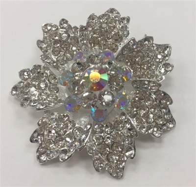 BRO-RHS-278-SILVER. Clear and AB Rhinestones on Silver Metal Brooch - 2 x 2 Inches