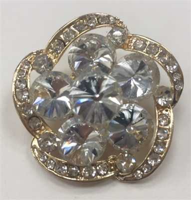 BRO-RHS-279-GOLD. Clear Rhinestones on Gold Metal Brooch - 1.5 x 1.5 Inches
