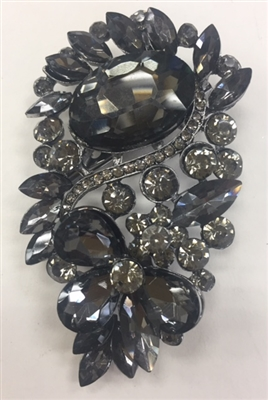 BRO-RHS-280-BLACK. Black Rhinestones on Black Metal Brooch - 3 x 1.5 Inches