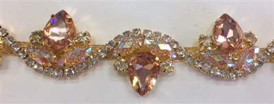 CHN-RHS-052-PEACHGOLD.  Peach and Clear Crystal Rhinestones on Gold Metal Chain - 1.5 Inch Wide