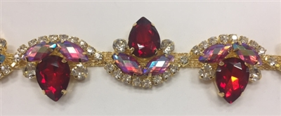 CHN-RHS-052-RED. Red and Clear Crystal Rhinestones on Gold Metal Chain - 1.5 Inch Wide