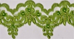 "LNS-BBE-101-AppleGreen.  3.0""-wide Bridal Lace with Beads - Apple Green"