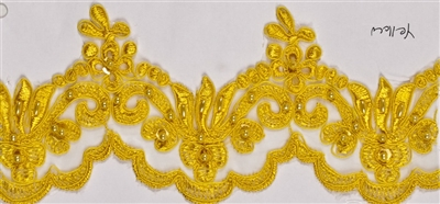 "LNS-BBE-101-Yellow.  3.0""-wide Bridal Lace with Beads - Yellow"