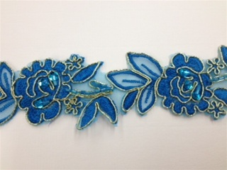 LNS-BBE-179-BLUEGOLD.  BRIDAL BEADED LACE - BLUE GOLD - 2.0 INCHES