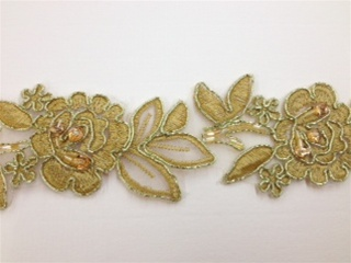 LNS-BBE-179-GOLD.  BRIDAL BEADED LACE - GOLD - 2.0 INCHES