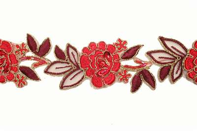 LNS-BBE-179-RED.  Bridal Beaded Lace