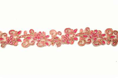 LNS-BBE-180-PINK.  Bridal Beaded Lace