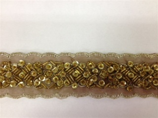 LNS-BBE-183-BROWN.  BEADED BRIDAL LACE - 1.5 INCH