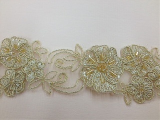LNS-BBE-185-GOLD.  BRIDAL BEADED LACE - GOLD - 2.0 INCHES