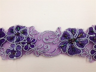 LNS-BBE-185-PURPLE.  BRIDAL BEADED LACE - PURPLE - 2.0 INCHES