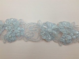 LNS-BBE-185-SILVER.  BRIDAL BEADED LACE - SILVER - 2.0 INCHES