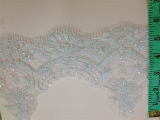 LNS-BBE-189-WHITE.  BRIDAL BEADED LACE ON TOOL