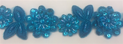 LNS-BBE-190-BLUE. BRIDAL BEADED LACE - 1.5 INCH WIDE