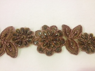 LNS-BBE-190-BROWN.  BRIDAL BEADED LACE - 1.5 INCH WIDE