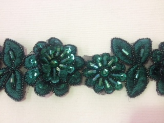 LNS-BBE-190-HUNTERGREEN.  BRIDAL BEADED LACE - HUNTER GREEN - 1.5 INCH WIDE