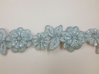 LNS-BBE-190-SILVER.  BRIDAL BEADED LACE