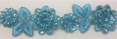 LNS-BBE-190-TURQUOISE. BRIDAL BEADED LACE