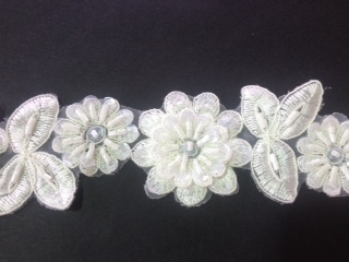 LNS-BBE-190-WHITE.  BRIDAL BEADED LACE - WHITE - 1.5 INCH WIDE