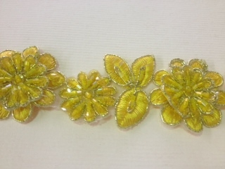 LNS-BBE-190-YELLOW.  BRIDAL BEADED LACE - 1.5 INCH WIDE