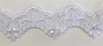 LNS-BBE-191-WHITE.  BRIDAL BEADED LACE