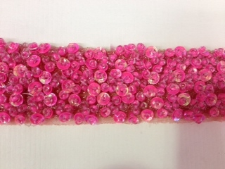 "LNS-BBE-193-PINK.  BRIDAL BEADED TRIM - PINK - 1.5"" WIDE"