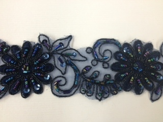 LNS-BBE-198-NAVY.  BRIDAL BEADED TRIM - NAVY - 2 INCH WIDE