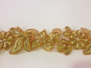 LNS-BBE-199-METALICGOLD.  BRIDAL BEADED TRIM - METALIC GOLD - 1.25 INCH WIDE