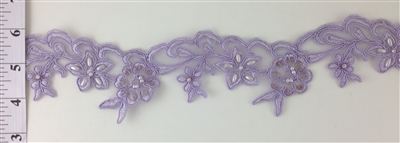 LNS-BBE-203-LILAC. BRIDAL BEADED LACE ON ORGANZA