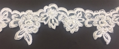 LNS-BBE-203-WHITE. BRIDAL EMBROIDERY BEADED LACE ON ORGANZA