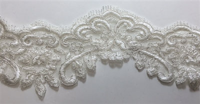 "LNS-BBE-204-OFFWHITE. BRIDAL BEADED LACE - 4.5 "" WIDE"