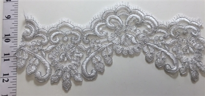 "LNS-BBE-204-WHITE. BRIDAL BEADED LACE - 4.5 "" WIDE"