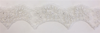 "LNS-BBE-206-OFFWHITE. BRIDAL BEADED LACE - 2 "" WIDE"