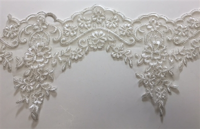"LNS-BBE-209-WHITE. BRIDAL BEADED LACE - 6 "" WIDE"