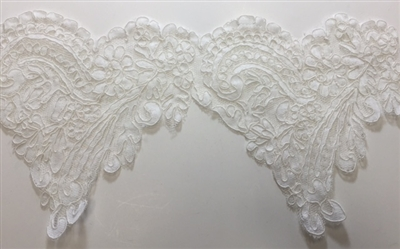 "LNS-BBE-212-OFFWHITE. BRIDAL EMBROIDERED LACE - 8 "" WIDE"