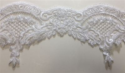 "LNS-BBE-213-WHITE. BRIDAL EMBROIDERED LACE - 6.5 "" WIDE"
