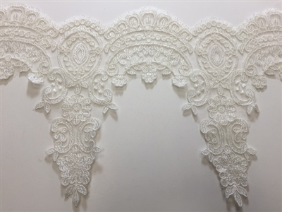 "LNS-BBE-214-WHITE. BRIDAL EMBROIDERED LACE - 9 "" WIDE"