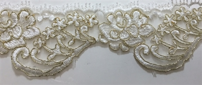 "LNS-BBE-215-OFFWHITE-GOLD. BRIDAL EMBROIDERED LACE WITH GOLD BORDERS- 2.5 "" WIDE"
