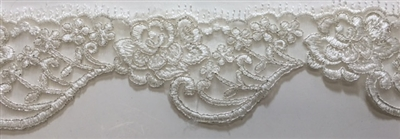 "LNS-BBE-215-OFFWHITE-SILVER. BRIDAL EMBROIDERED LACE WITH SILVER BORDERS- 2.5 "" WIDE"