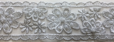 "LNS-BBE-216-SILVER. BRIDAL EMBROIDERED LACE WITH SEQUINS - 2 "" WIDE"