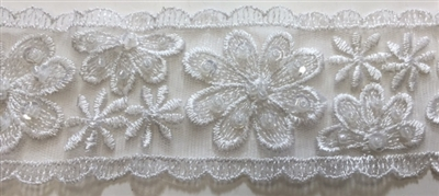 "LNS-BBE-216-WHITE. BRIDAL EMBROIDERED LACE WITH SEQUINS - 2 "" WIDE"