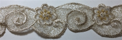 "LNS-BBE-217-GOLD. BRIDAL EMBROIDERED LACE WITH SEQUINS - 1 3/4 "" WIDE"